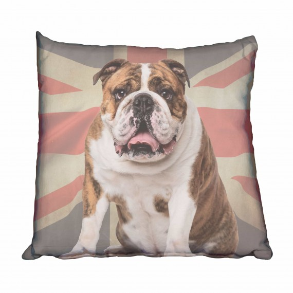 Big Bulldog & UK Flag Scatter Cushion