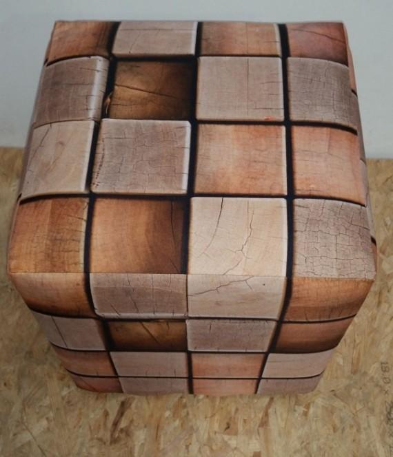 Wooden Cube Ottoman Slip Cover