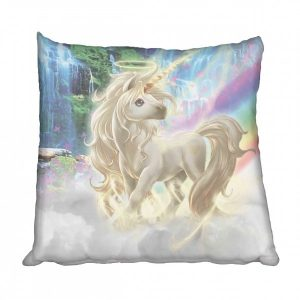 unicorn and rainbow scatter cushion