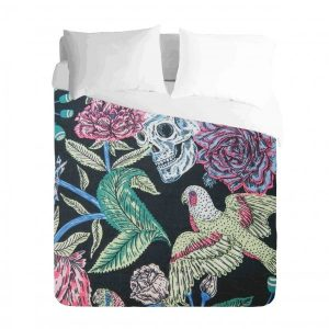 Skull Bird and Roses Duvet Cover Set