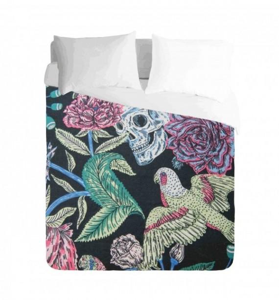 Skull Bird and Roses Duvet Cover Set