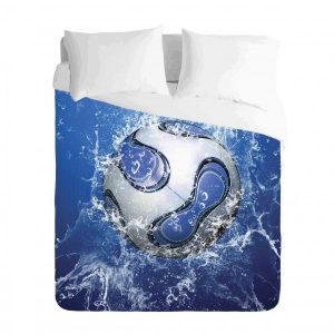 Soccer Ball Blue Water Duvet Cover Set