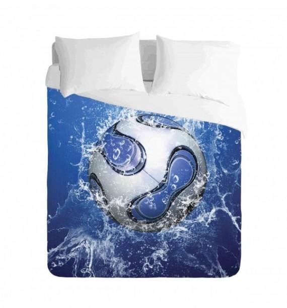Soccer Ball Blue Water Duvet Cover Set
