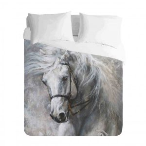 Saddlebred White Horse Duvet