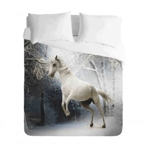 White Horse in Snow Duvet
