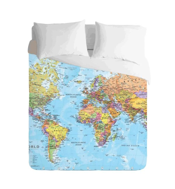 World Map Classic Duvet by Imaginate Decor, Custom Printed
