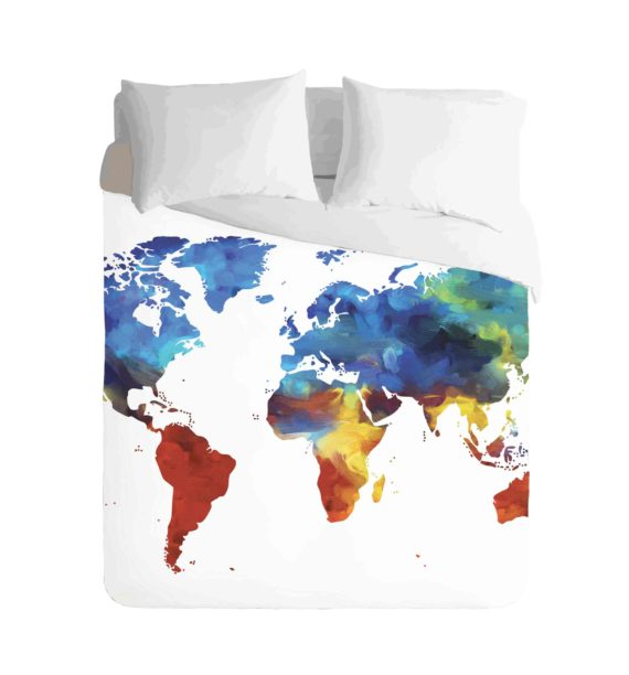 World Map Colourful Duvet