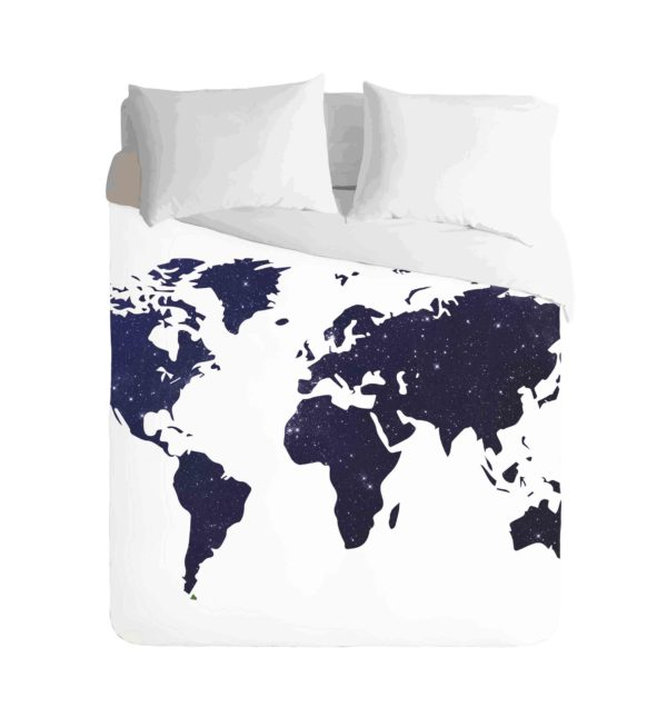 World Map Navy Duvet