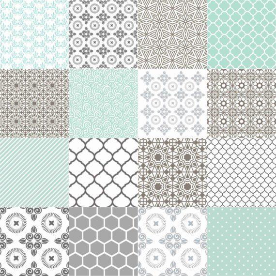 Pastel Mint & Grey DIY decorative tiles