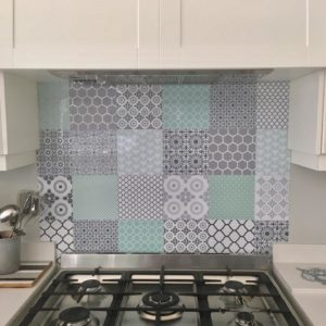 Pastel Mint & Grey DIY decorative tiles