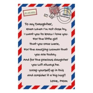 To my Daughter, love Mom airmail letter blanket,