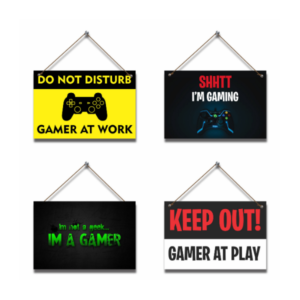Gamer at Play Gaming Hanging Pictures (4 piece)
