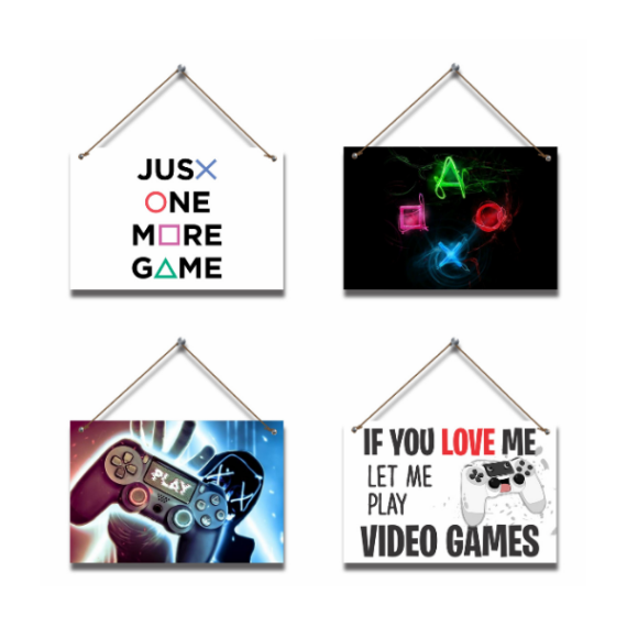 Play Games Game Gaming Hanging Pictures (4 piece)